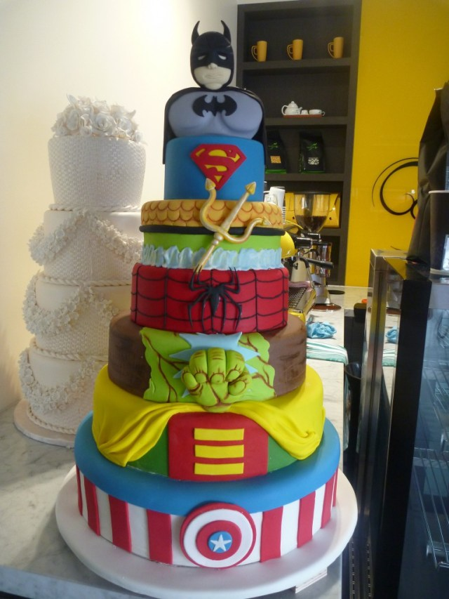 Hulk Birthday Cakes Six Tier Round Birthday Cake Superheros Batman Superman Aquaman