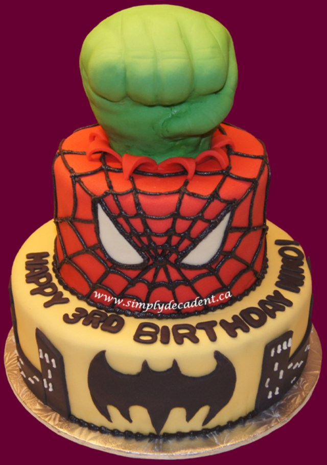 Hulk Birthday Cakes Superhero Birthday Cake Hulk Spiderman Amp Batman Cakecentral