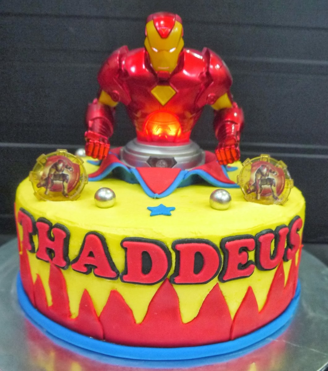 Incredible Iron Man Birthday Cake 12 Cakes With Cupcakes For Mans Photo Funny Birthday Cards Online Inifodamsfinfo
