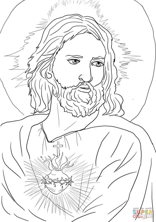 Jesus Coloring Page Sacred Heart Of Jesus Coloring Page Free Printable Coloring Pages