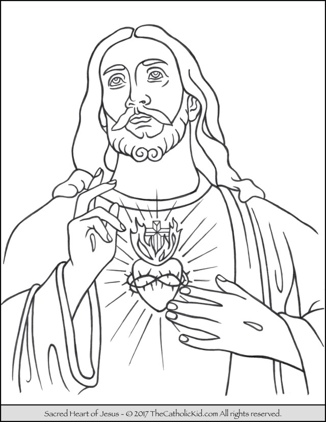 Jesus Coloring Page Sacred Heart Of Jesus Coloring Page Thecatholickid