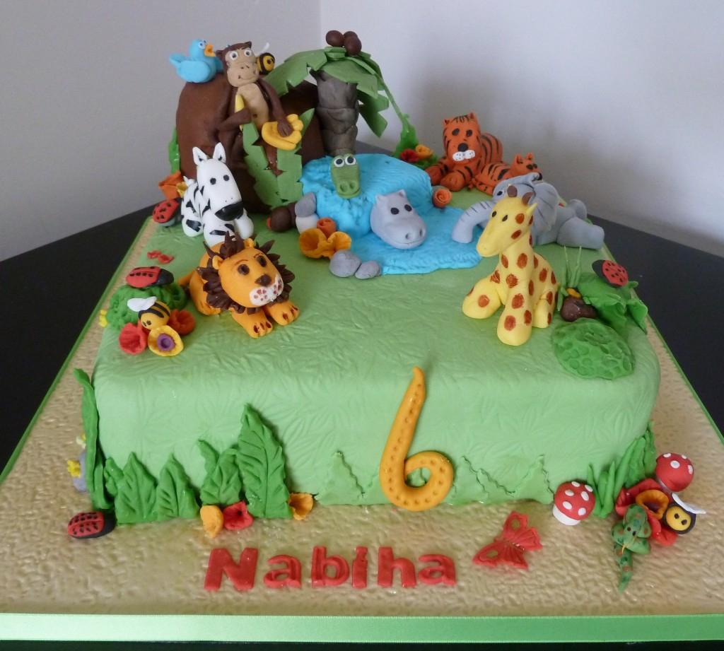 Fantastic Jungle Birthday Cake Jungle Animals Birthday Cake Wedding Birthday Personalised Birthday Cards Bromeletsinfo