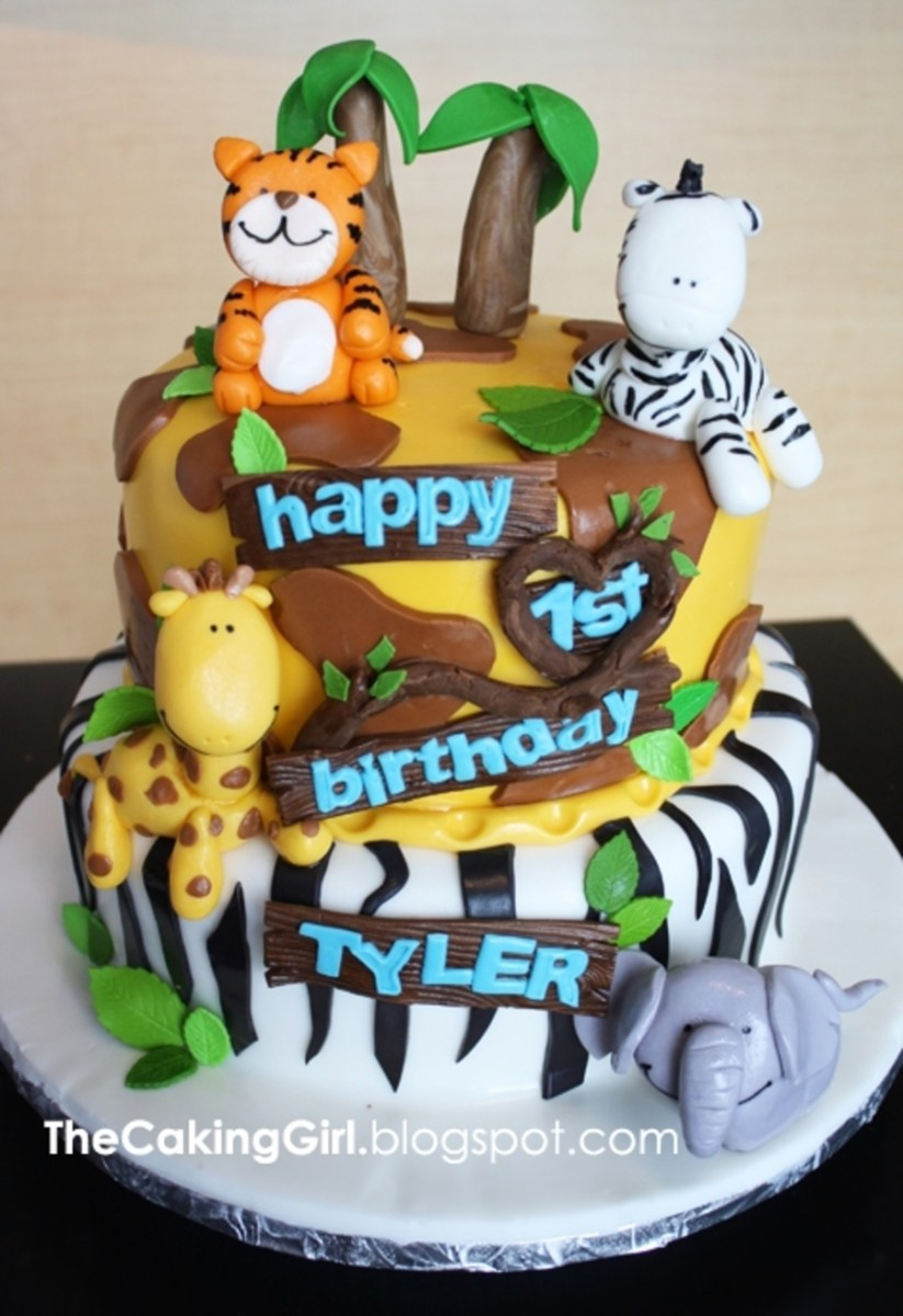 Superb Jungle Birthday Cake Jungle Themed Birthday Cake For Kids Funny Birthday Cards Online Chimdamsfinfo