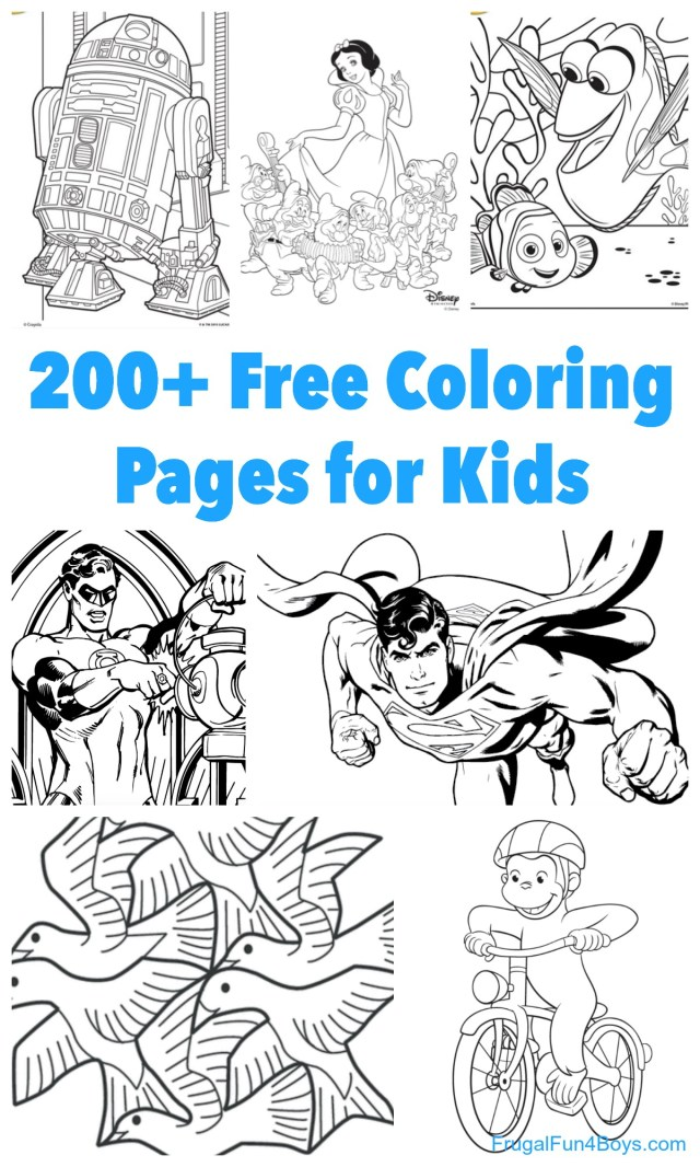 Kids Printable Coloring Pages 200 Printable Coloring Pages For Kids Frugal Fun For Boys And Girls