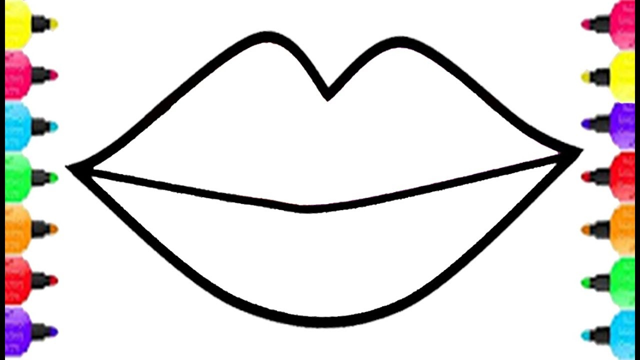 creative picture of lips coloring page  birijus