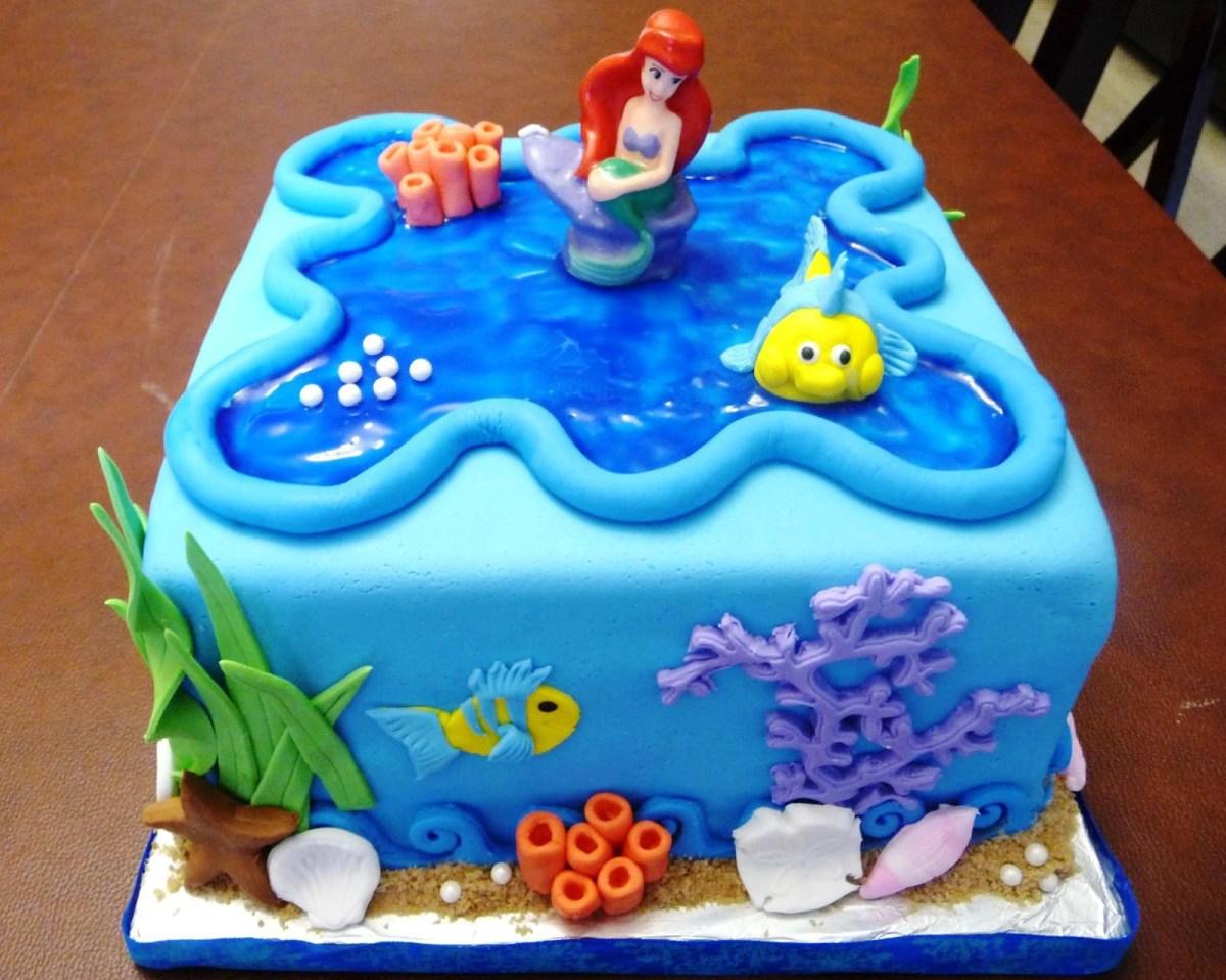 Terrific Little Mermaid Birthday Cakes Little Mermaid Birthday Cake Funny Birthday Cards Online Elaedamsfinfo