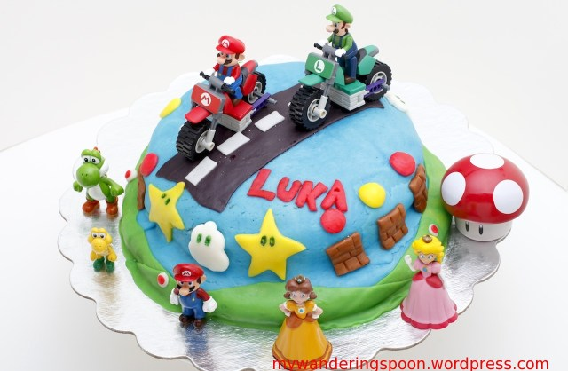 Mario Bros Birthday Cake Super Mario Marshmallow Fondant Birthday Cake My Wandering Spoon
