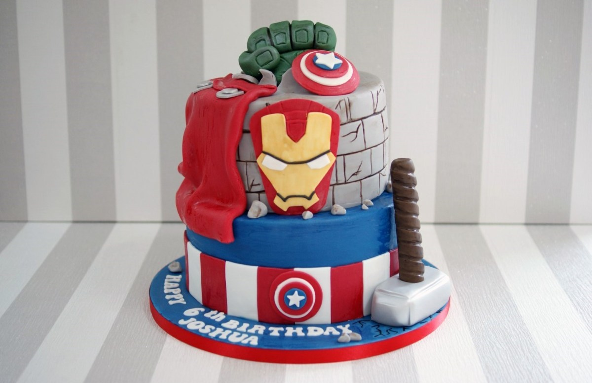 Remarkable Marvel Birthday Cakes 2 Tier Marvel Avengers Birthday Cake Funny Birthday Cards Online Drosicarndamsfinfo