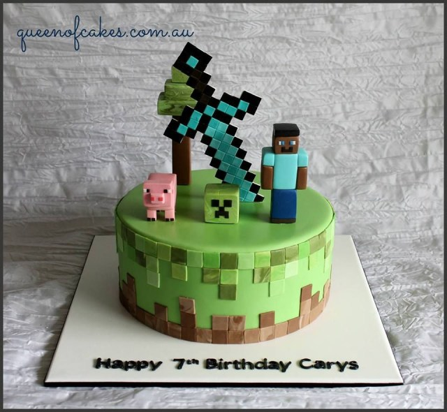 Minecraft Birthday Cakes Awesome Minecraft Birthday Cake Topped With Steve Creeper A Pig And