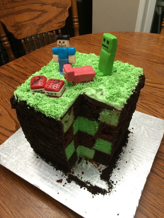 Minecraft Birthday Cakes My Mom Made A Pretty Cool Minecraft Cake For My Brothers Birthday