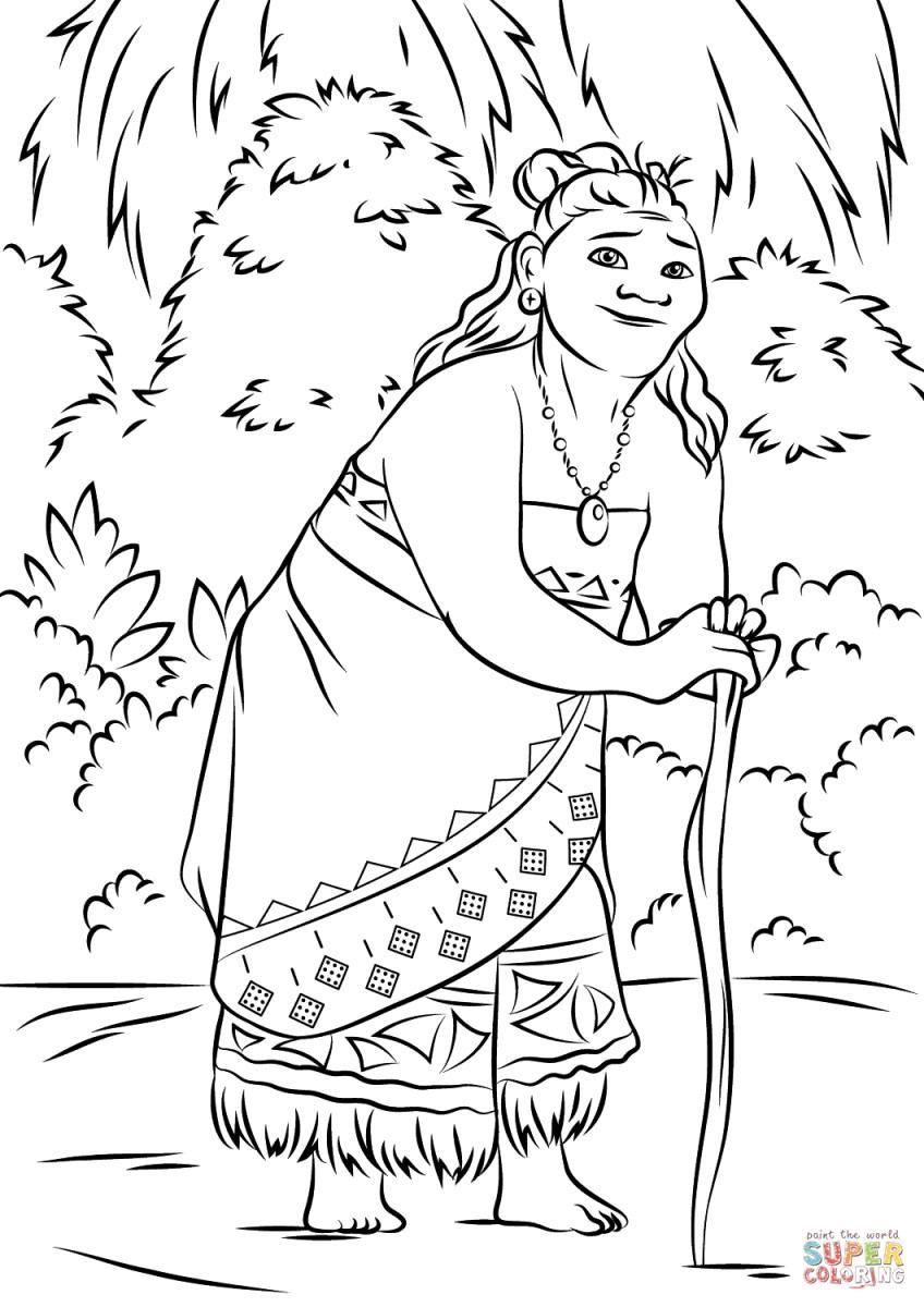Moana Printable Coloring Pages Gramma Tala From Moana Coloring Page Free Printable Coloring Pages