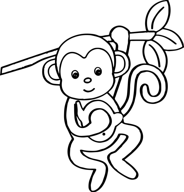Monkey Coloring Pages Cartoon Animals Kids Monkey Coloring Page Wecoloringpage