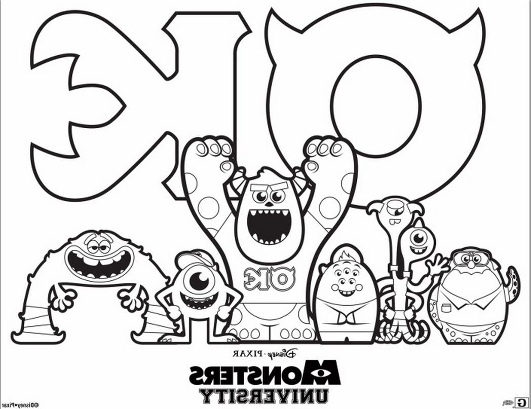 Monster Inc. Coloring Pages. Mike, Sally and other monsters | 807x1048