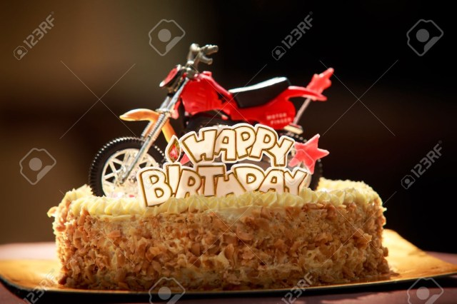 Motorcycle Birthday Cake Birthday Cake With Nuts And Vanilla Cream Decorated With Motorcycle