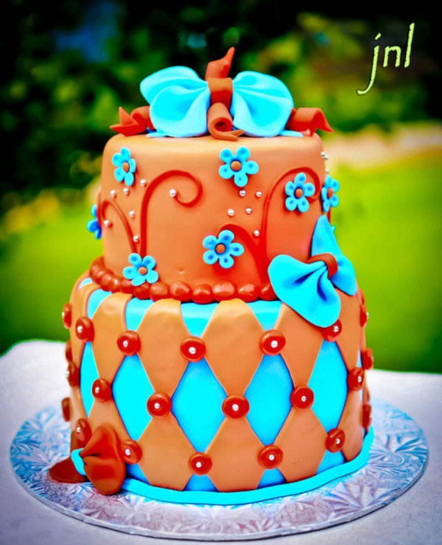 Orange Birthday Cake Orange And Turquoise Birthday Cake Cakecentral