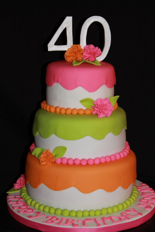 Orange Birthday Cake Pink Orange Lime Green Birthday Cake Cake Oh Glorious Cake