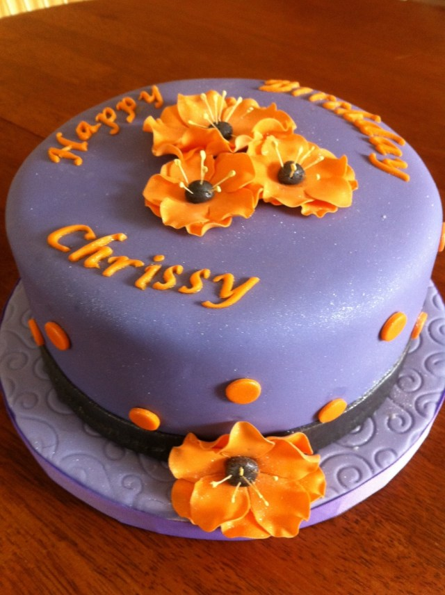 Orange Birthday Cake Purple Black And Orange Birthday Cake Cakecentral