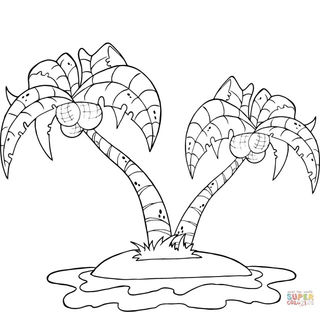 Palm Tree Coloring Pages Coconut Palm Trees On Island Coloring Page Free Printable Coloring