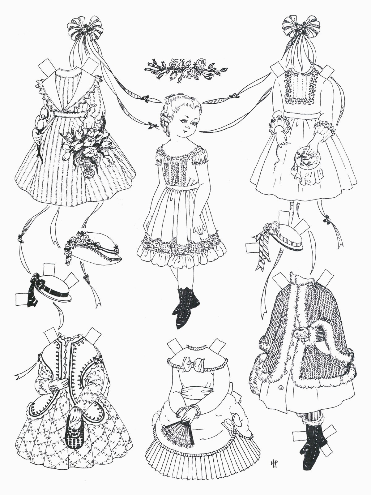 image relating to Free Printable Paper Dolls Black and White called Paper Doll Coloring Web pages Absolutely free Printable Paper Doll Coloring