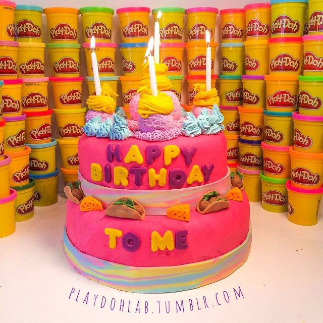Play Doh Birthday Cake Happy Birthday To Me My Dream Playdoh Cake Pink Birthday Cake
