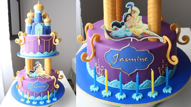 Princess Jasmine Birthday Cake Aladdin And Jasmine Cake Tutorial Youtube