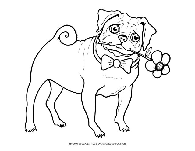 Pug Coloring Pages Pug Coloring Pages Printable Coloring Home