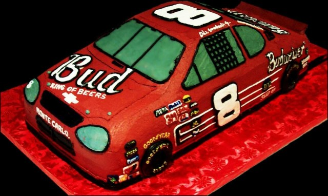 Race Car Birthday Cake Dale Jr Race Car Birthday Cake Red Buttercream Iced Shaped Cake