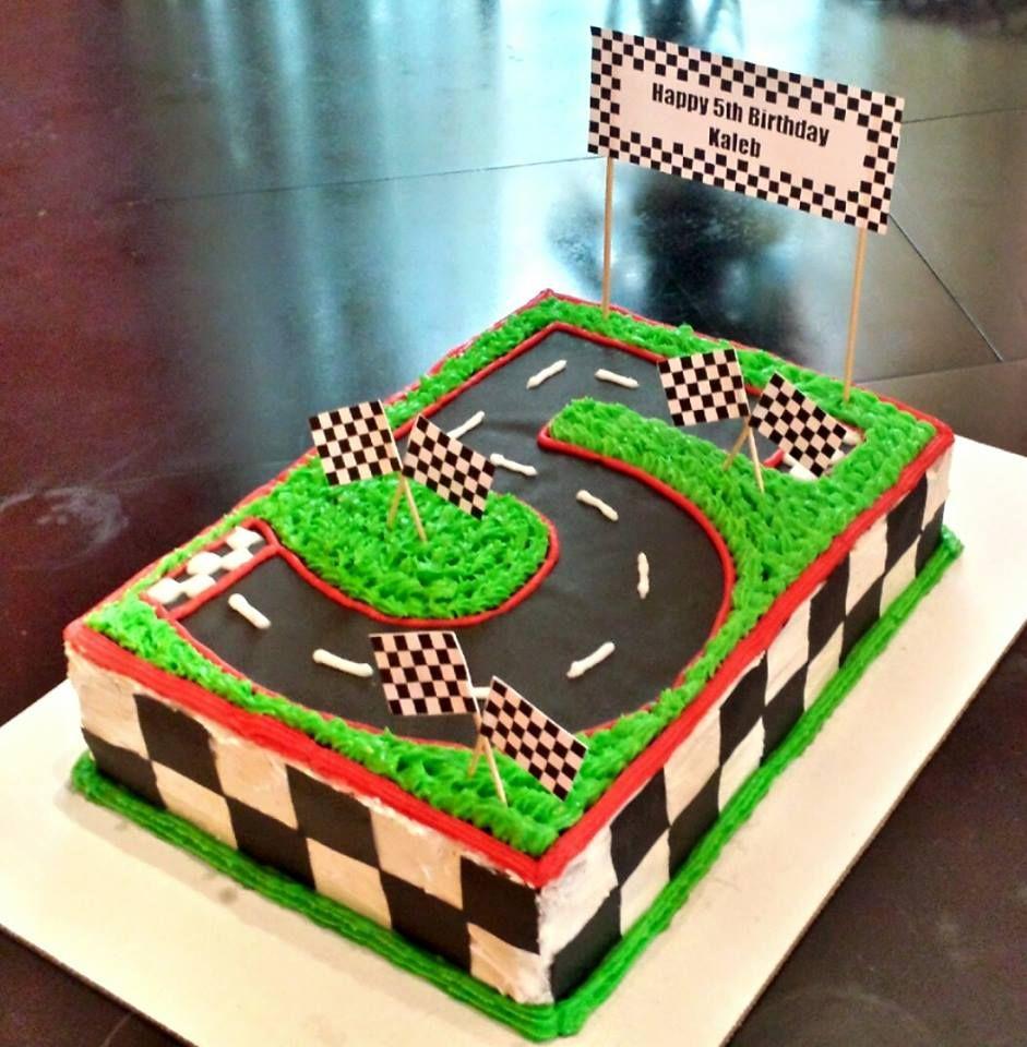 Strange Race Car Birthday Cake Number 5 Race Track Cake I Made For My Son Personalised Birthday Cards Akebfashionlily Jamesorg