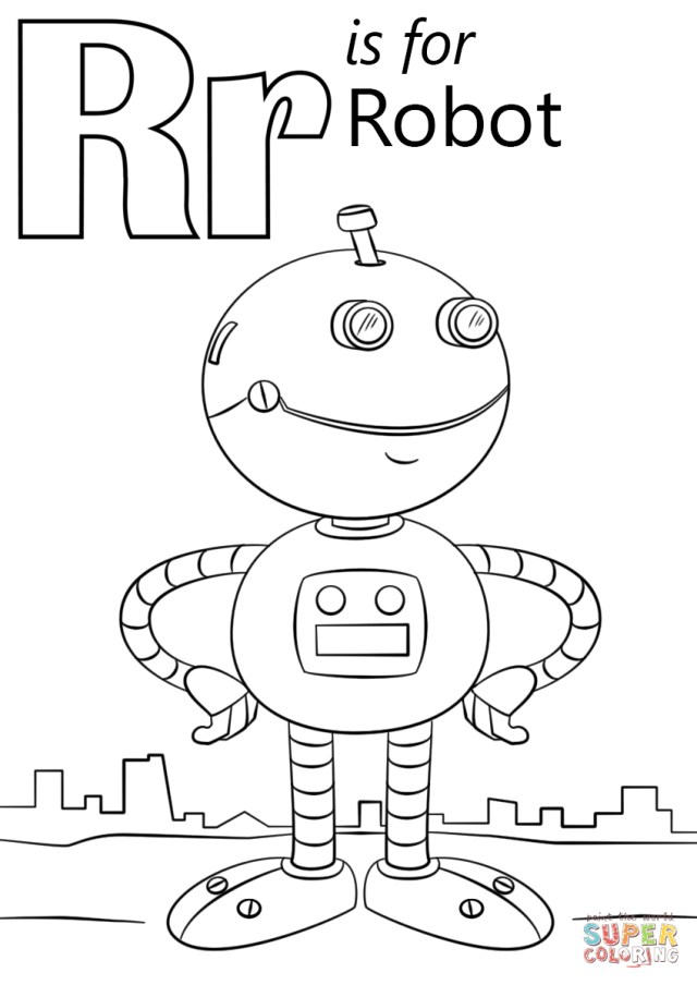 Robot Coloring Page Letter R Coloring Page Letter R Is For Robot Coloring Page Free