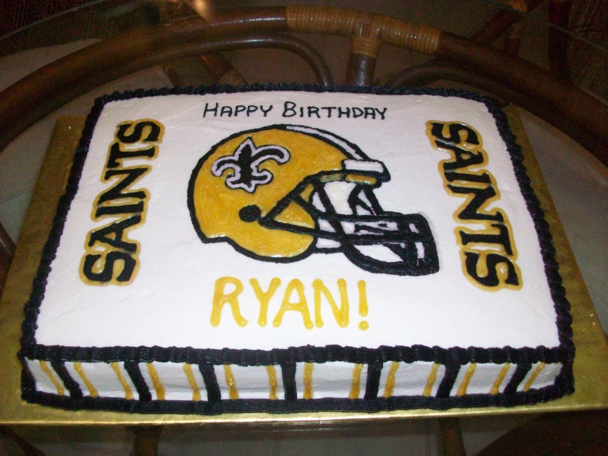 Incredible Saints Birthday Cake New Orleans Saints Birthday Cake Saints Cake Personalised Birthday Cards Cominlily Jamesorg