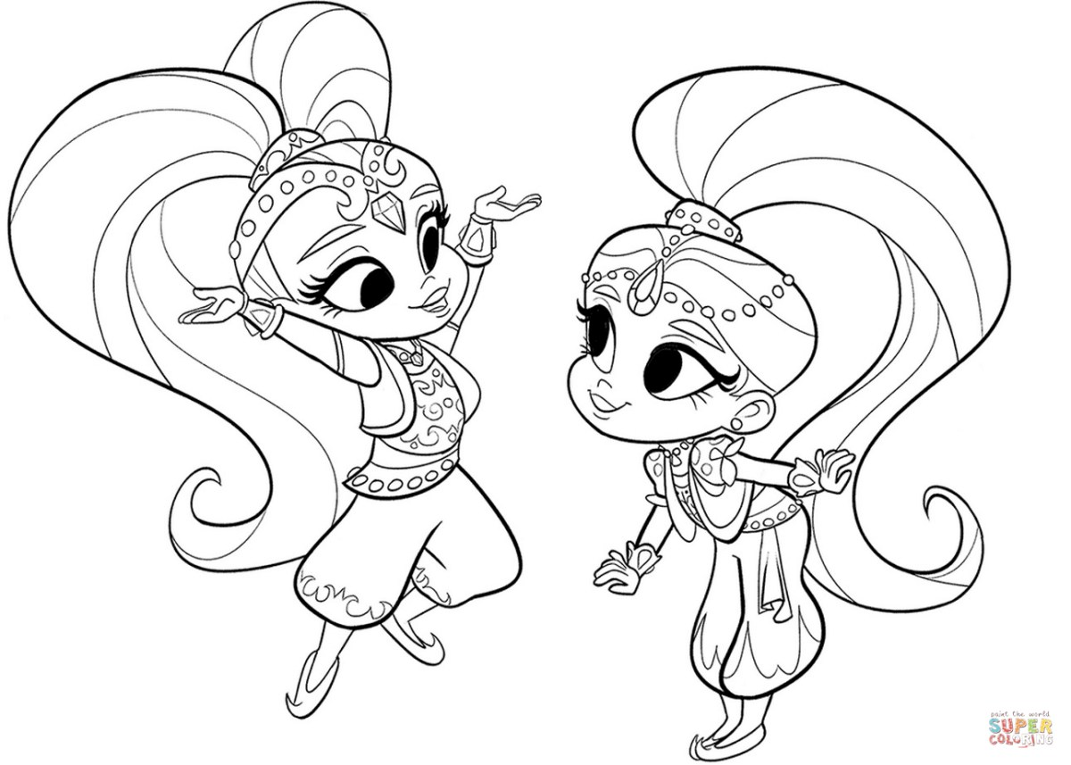 Shimmer And Shine Coloring Pages Shimmer And Shine Coloring Page Free Printable Coloring Pages