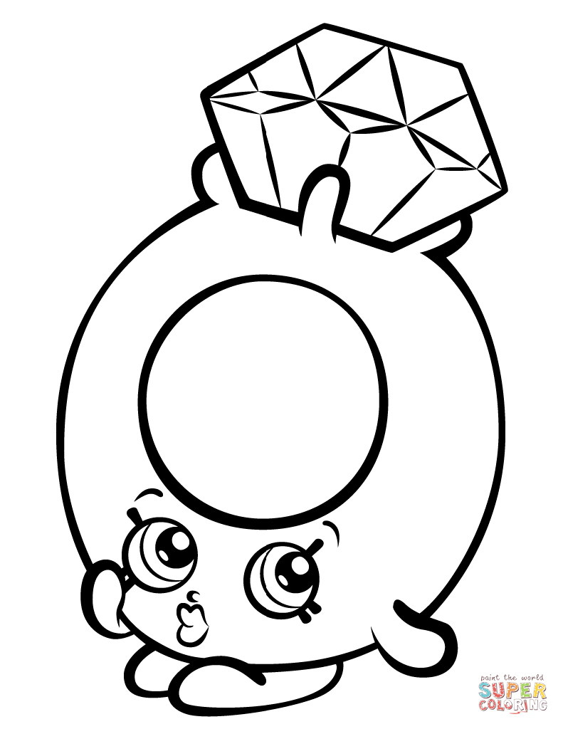 Shopkins Coloring Pages Roxy Ring With Diamond Shopkin Coloring ...