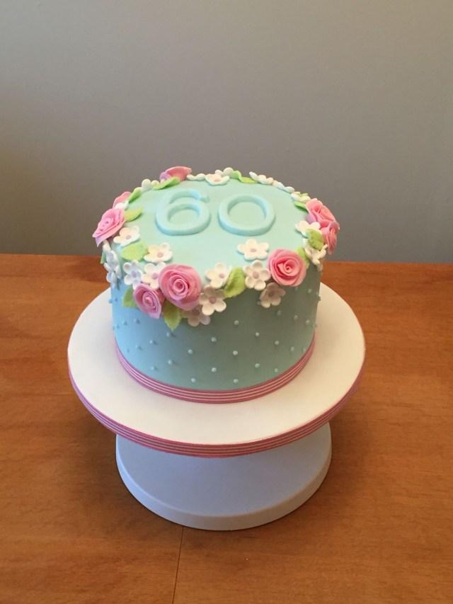Simple Birthday Cakes 60th Birthday Cake Flowery And Simple Cakes Pinte