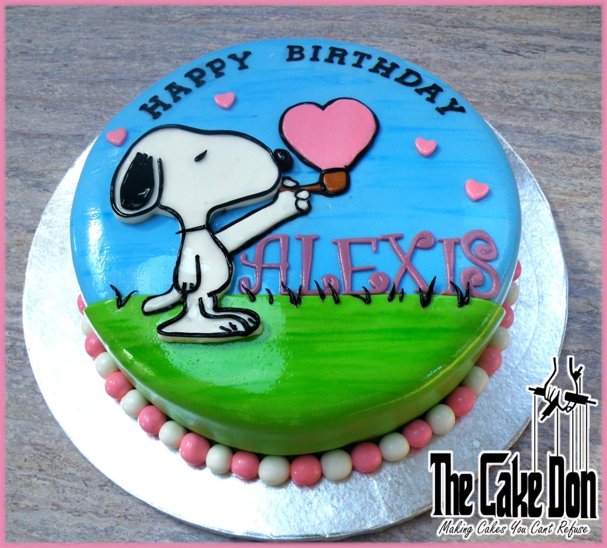 Sensational Snoopy Birthday Cake The Snoopy Love Bubble Birthday Cake The Cake Funny Birthday Cards Online Alyptdamsfinfo