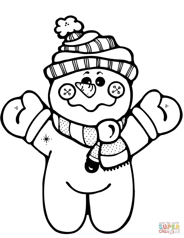 Snowman Coloring Pages Happy Snowman Coloring Page Free Printable Coloring Pages