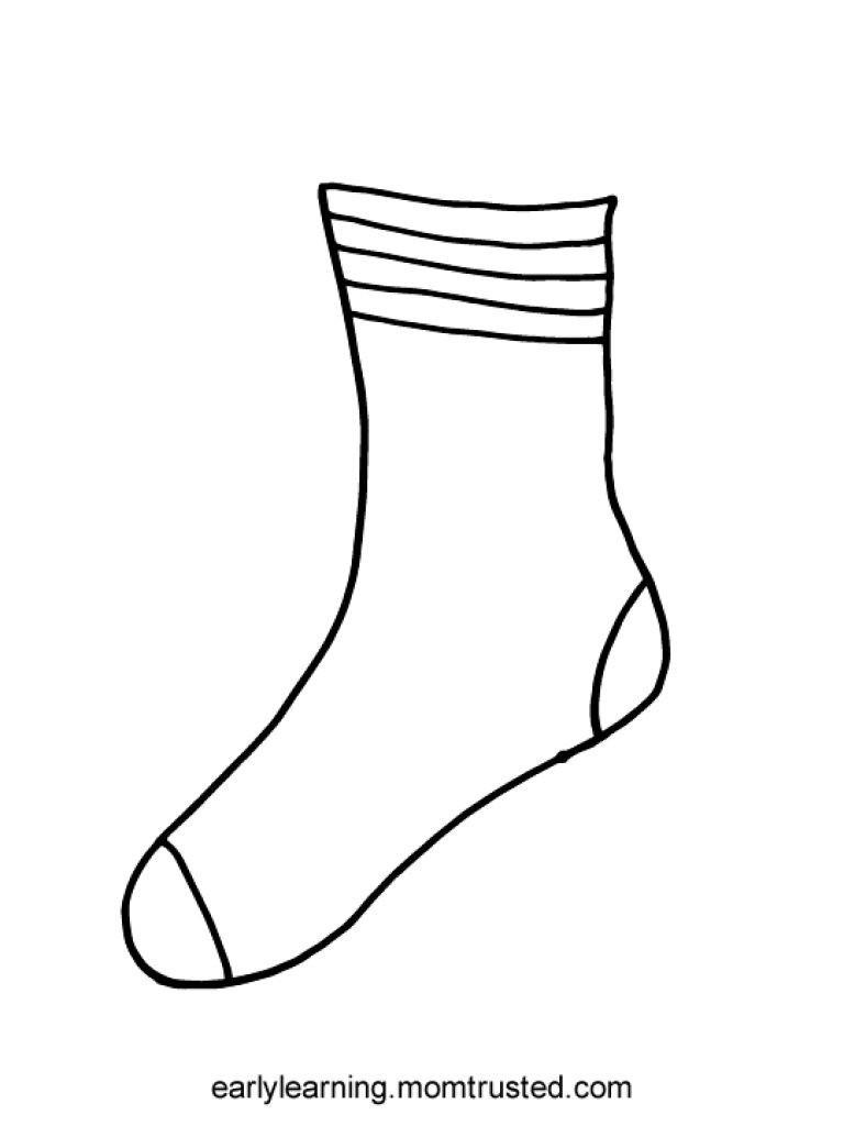 Sock Coloring Page Coloring Page Socks Ftwap Birijus Com