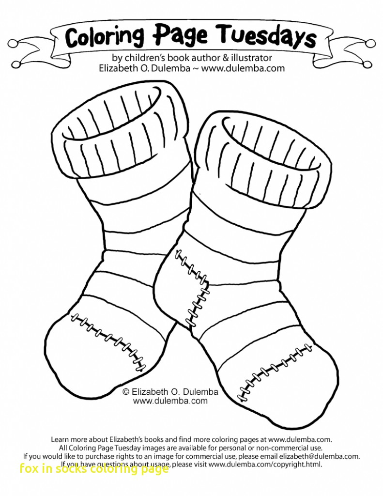 Sock Coloring Page Coloring Pages Sock Page Images Inspirations Fox In Socks New Paper