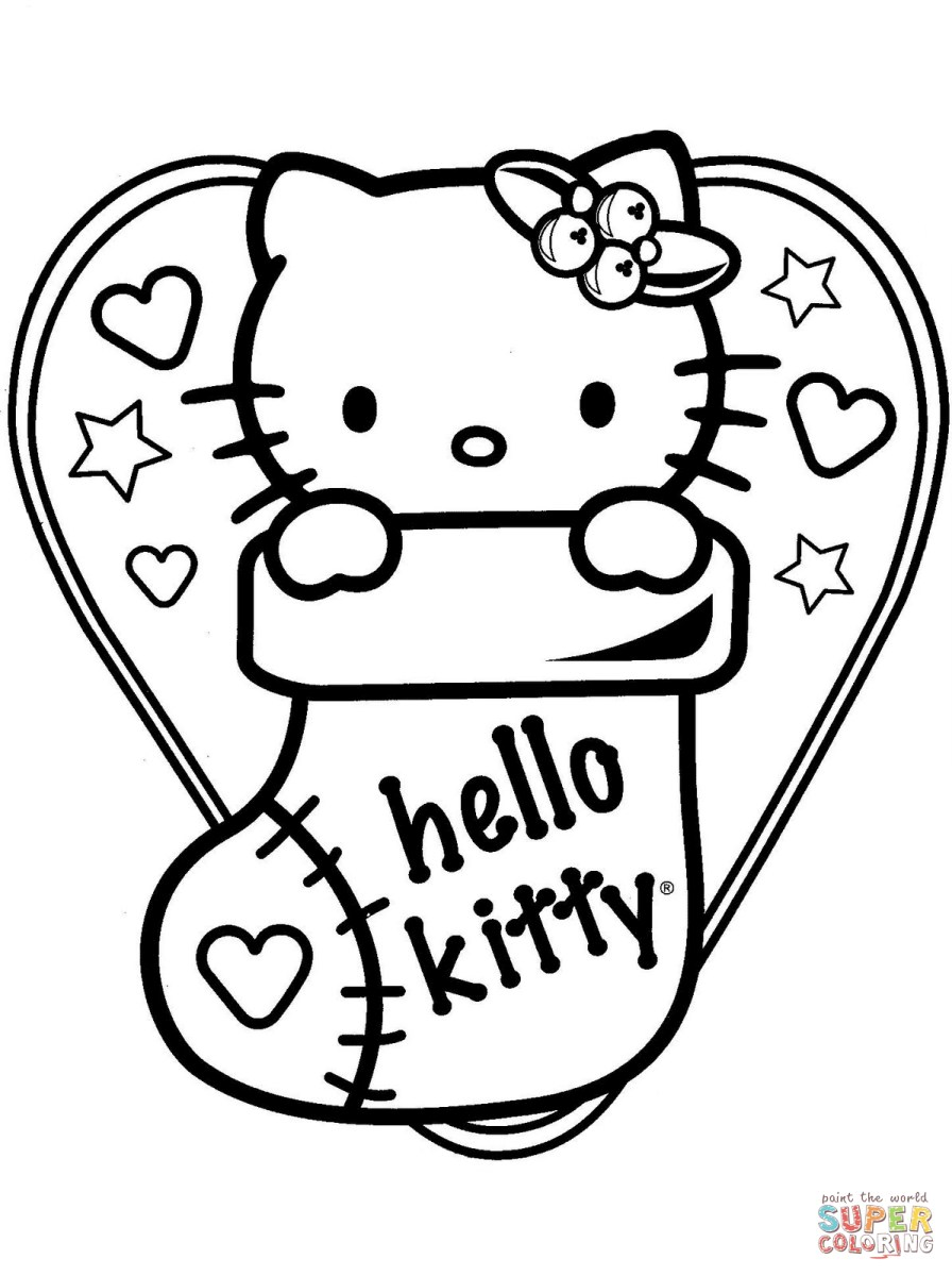 Sock Coloring Page Hello Kitty In Christmas Sock Coloring Page Free Printable