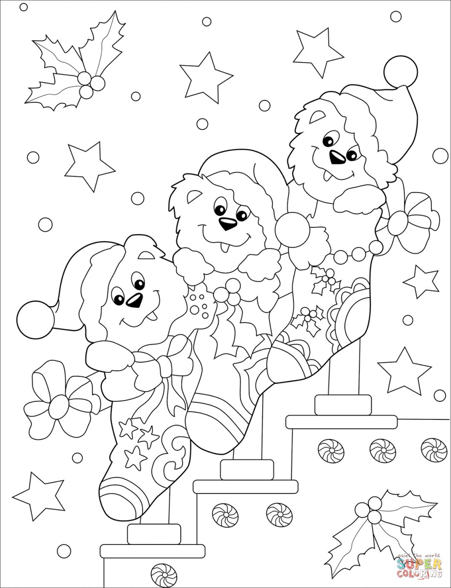 Christmas Stocking Present Coloring Pages - Christmas Stocking ... | 1200x921