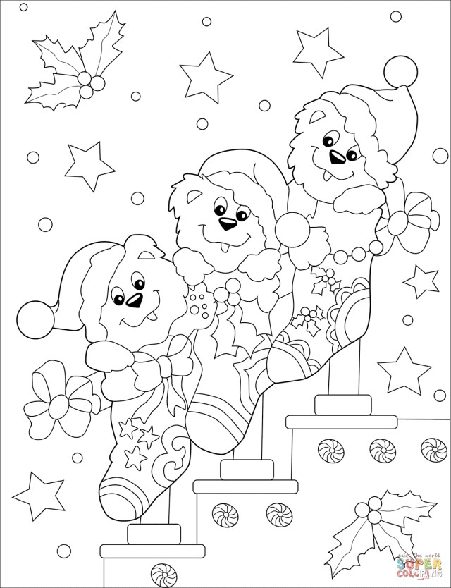 Socks Coloring Page Cute Bears In Christmas Socks Coloring Page Free Printable