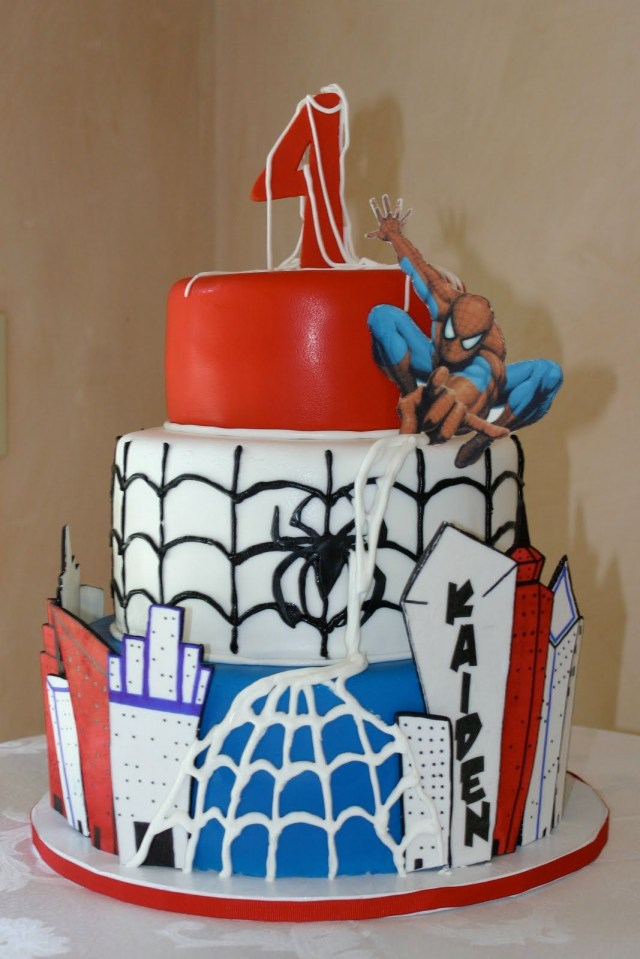 Spiderman Birthday Cakes Spiderman Themed 1st Birthday Cake Themed Party Cakes Pinterest