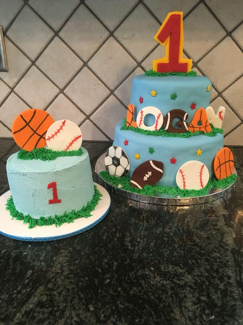Enjoyable Sports Birthday Cake First Birthday Boy Sports Cake With Smash My Funny Birthday Cards Online Bapapcheapnameinfo