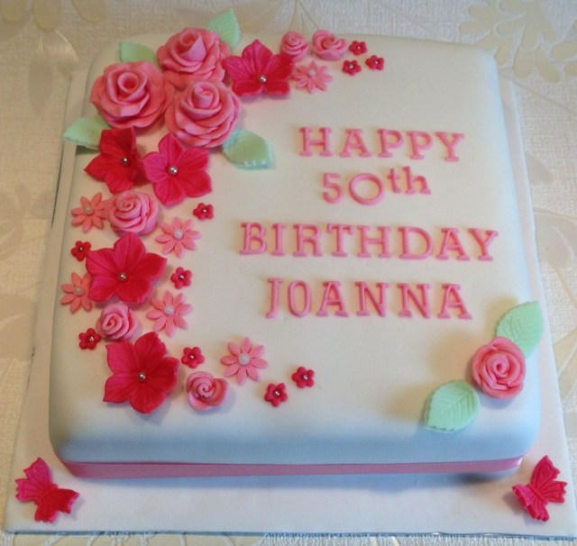 Square Birthday Cakes Happy 50th Birthday Square Iced Cake Flowers Butterfly Pink