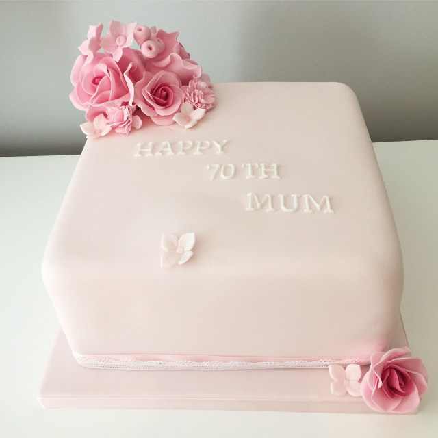 Square Birthday Cakes Soft Feminine Pink Square 8 Cake With Pink Roses To Decorate 70th