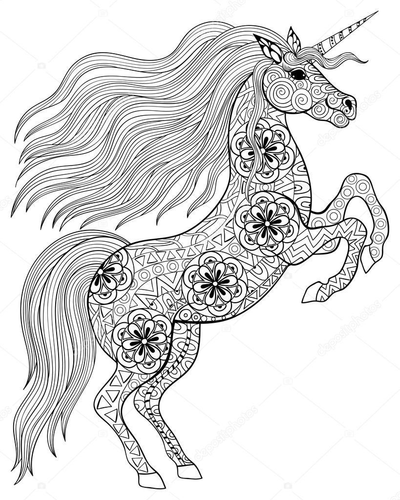 Stress coloring pages descargar hand drawn magic unicorn for adult anti stress coloring