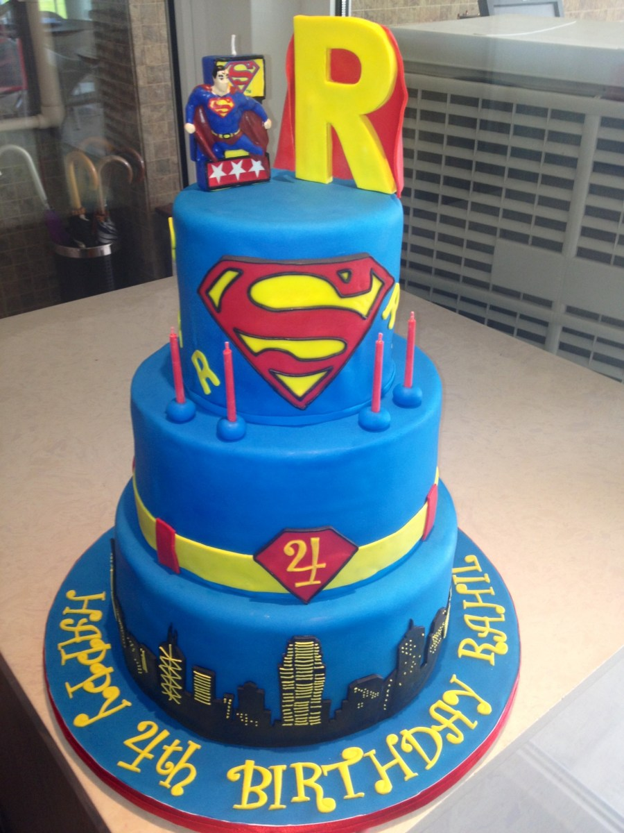 Tremendous Superman Birthday Cake 10 4 Tier With Cake Boss Birthday Cakes Funny Birthday Cards Online Aboleapandamsfinfo