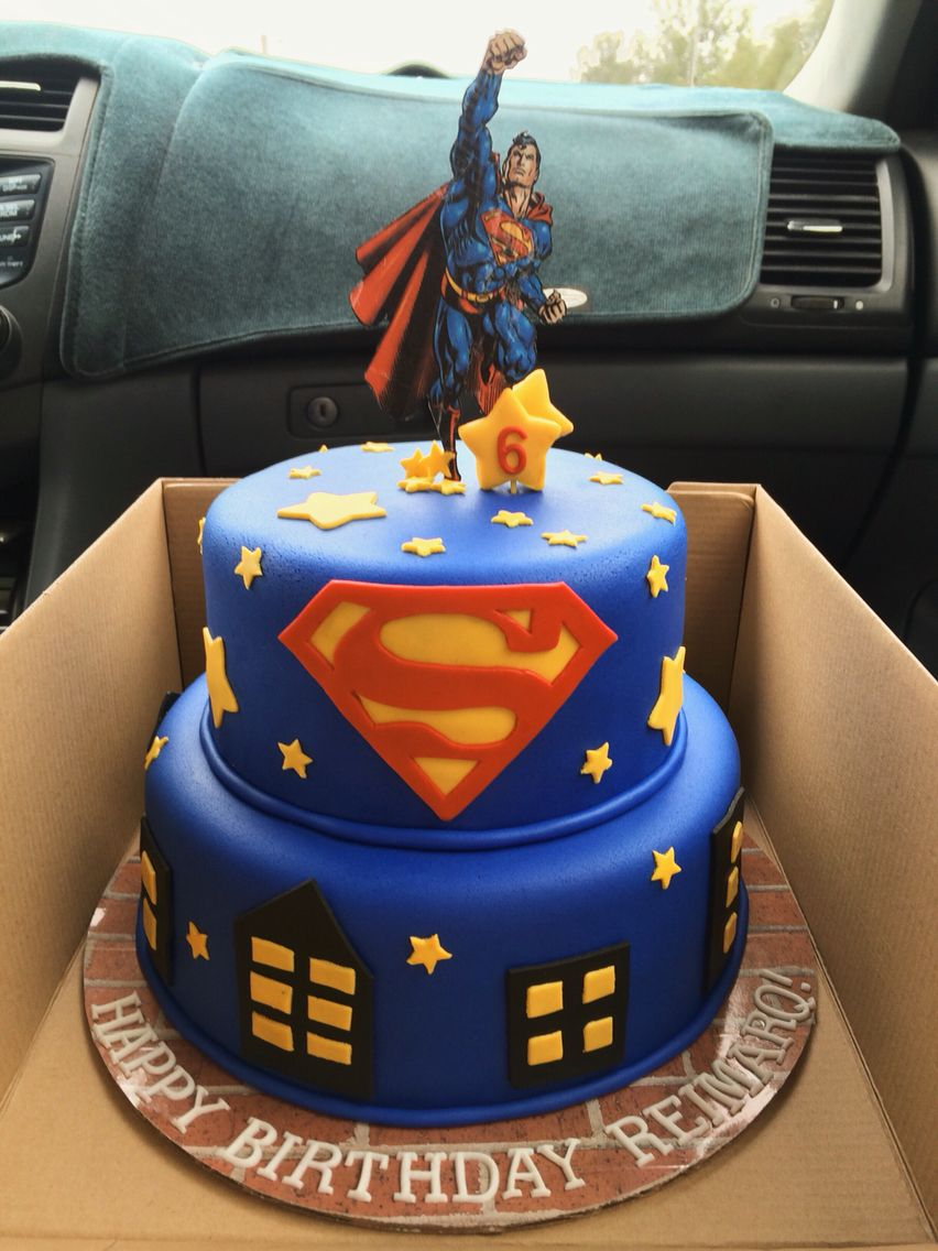Strange Superman Birthday Cake Superman Birthday Cake With Fondant Funny Birthday Cards Online Bapapcheapnameinfo