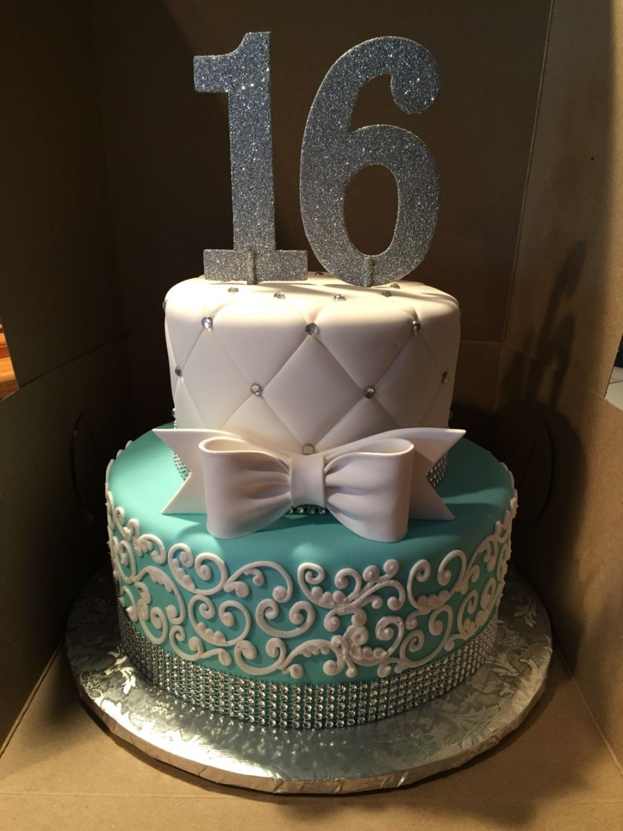 Enjoyable Sweet Sixteen Birthday Cakes Tiffany Themed Cake For A Sweet 16 Funny Birthday Cards Online Fluifree Goldxyz