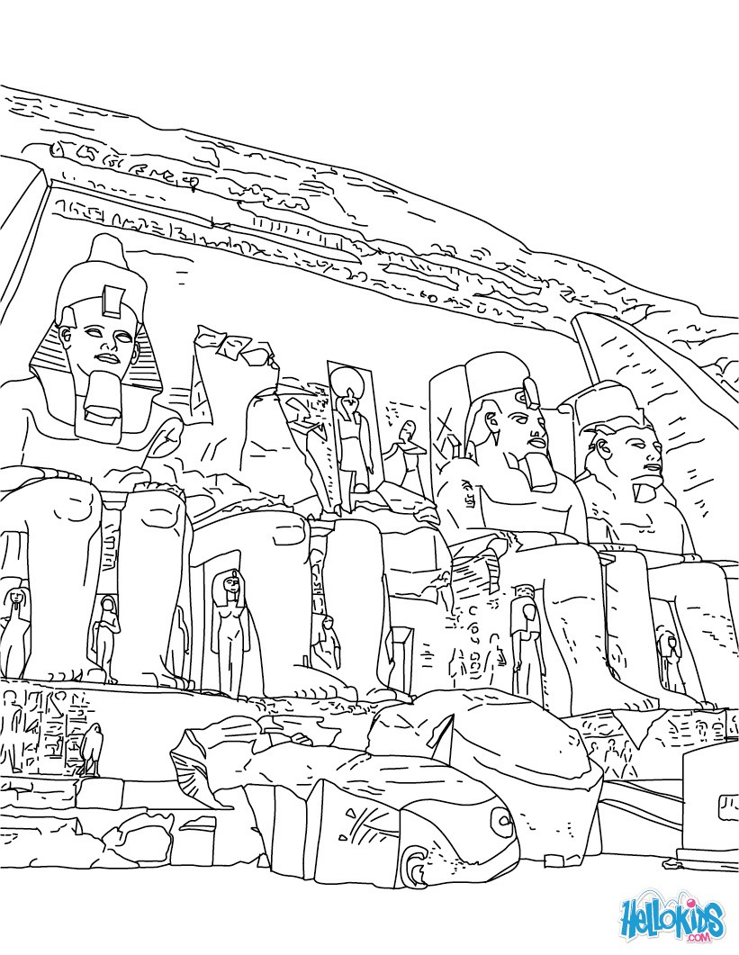 Temple Coloring Page Abu Simbel Temple Coloring Pages Hellokids