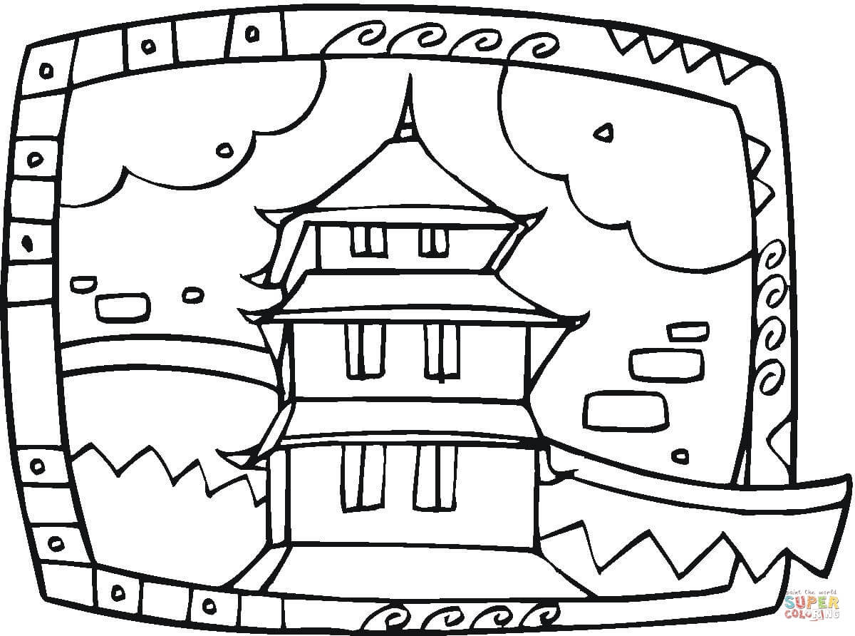 Temple Coloring Page Buddhist Temple Coloring Page Free Printable Coloring Pages